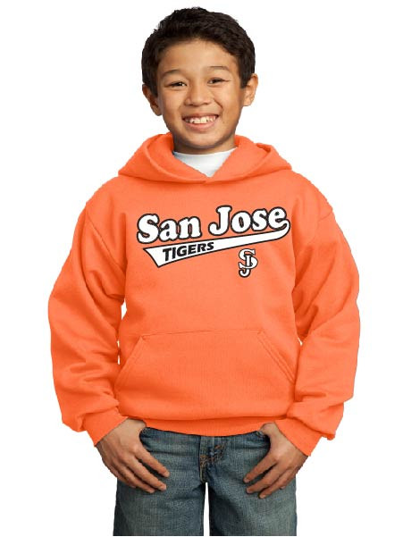 San Jose Tigers neon orange youth hoodie