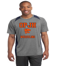 OPJH Wrestling Heather color block men's dri fit tee