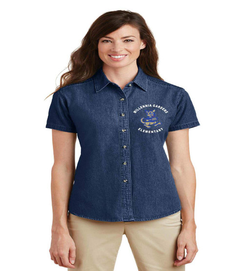 millennia gardens ladies denim short sleeve
