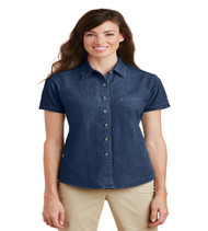 Durbin Creek Ladies Short Sleeve Denim Button-up