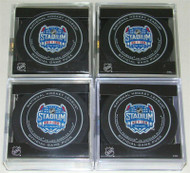 2014 NHL Stadium Series Official Game Pucks in Cubes - All 4 Series Pucks