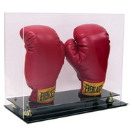 Deluxe Double Boxing Glove Display with Gold Risers
