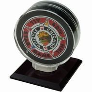 SINGLE HOCKEY PUCK DISPLAY with Black Acrylic Base