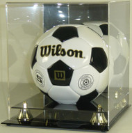 DELUXE SOCCER BALL DISPLAY with Gold Risers