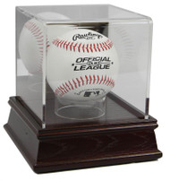 DELUXE ACRYLIC CHERRY WOOD BASE BASEBALL DISPLAY CASE