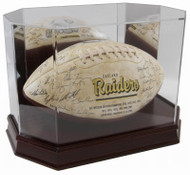 DELUXE WOOD BASE FULL SIZE FOOTBALL OCTAGON DISPLAY