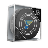 Saint Louis Blues Sherwood Official NHL Game Puck in Cube