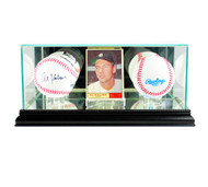 Deluxe Real Glass Card and Double Baseball Display Case