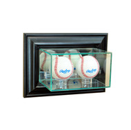 Deluxe Real Glass Wall Mounted Double Baseball Display Case