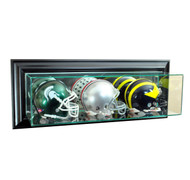 Deluxe Real Glass Wall Mounted Triple Mini Helmet Display Case