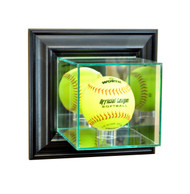 Deluxe Real Glass Wall Mounted Softball Display Case