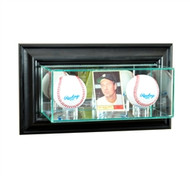 Deluxe Real Glass Wall Mounted Card and Double Basball Display Case