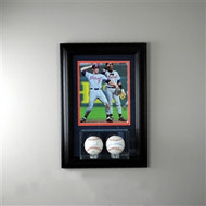 Deluxe Real Glass Wall Mounted Double Baseball 8 x 10 Display Case