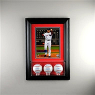 Deluxe Real Glass Wall Mounted Triple Baseball 8 x 10 Display Case