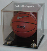 deluxe mini basketball display case with gold risers - Basketball Display Case