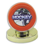 8 DELUXE GOLD BASE HOCKEY PUCK DISPLAY CASES