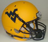 West Virginia Mountaineers Schutt Alternate Matte Gold Full Size Replica Helmet