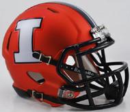 Illinois Illini Alternate Orange Chrome NCAA Riddell SPEED Mini Helmet