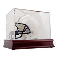 UV Mini Football Helmet Display Cube on Wood Base