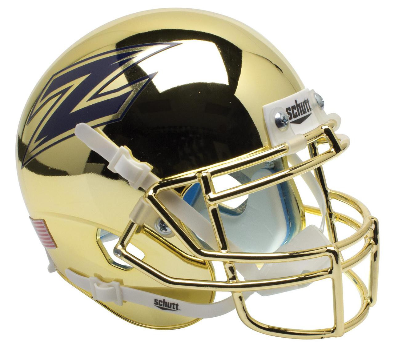 Football Helmet Vinyl Wraps : Akron zips alternate chrome schutt mini authentic helmet