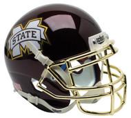 Mississippi State Bulldogs Alternate Chrome Mask Schutt Mini Authentic Helmet