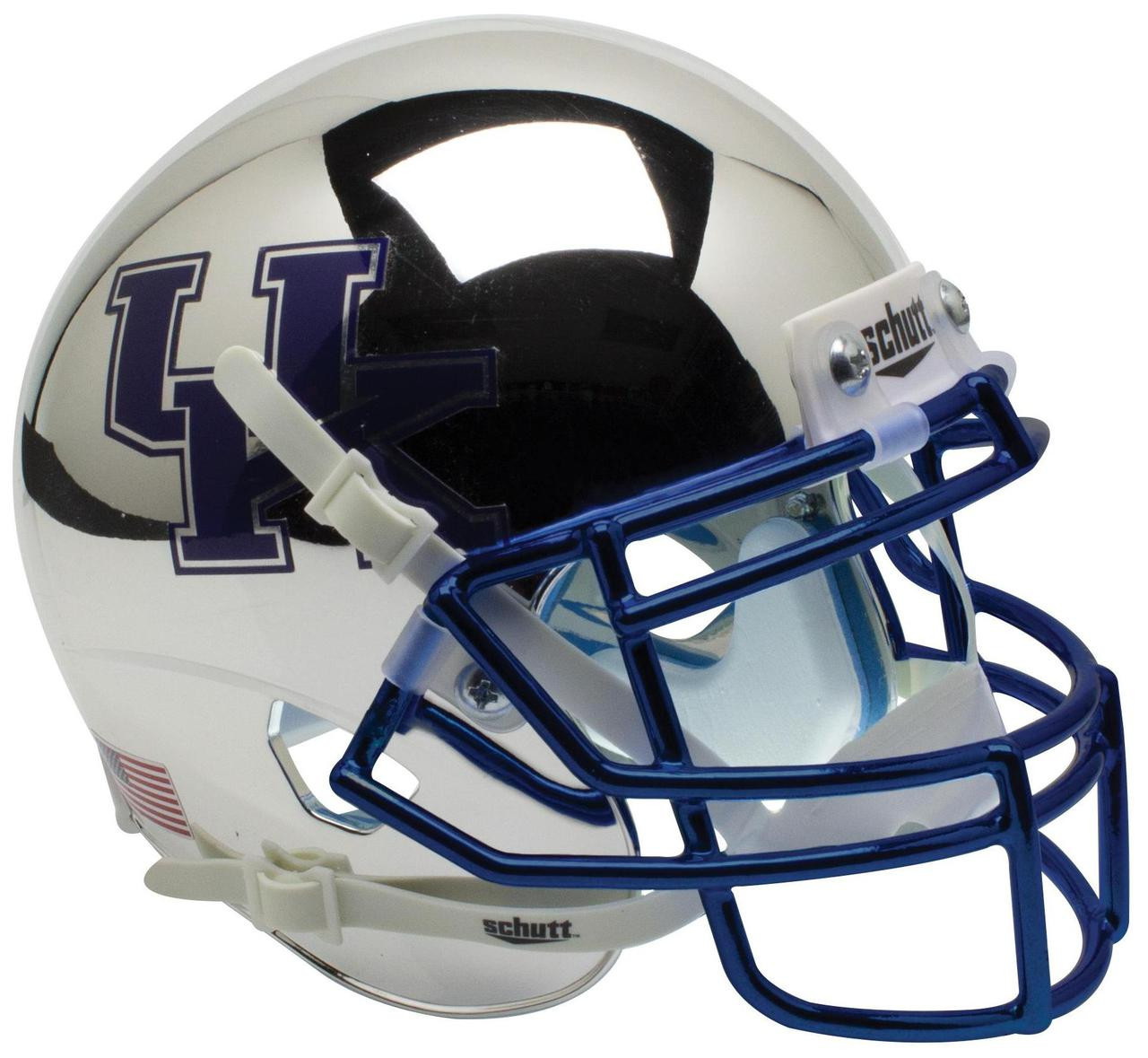 Football Helmet Vinyl Wraps : Kentucky wildcats alternate silver chrome schutt mini