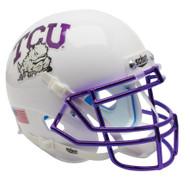 TCU Texas Christian Horned Frogs Alternate White Chrome Schutt Mini Authentic Helmet