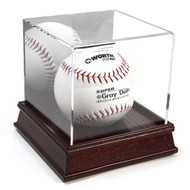 DELUXE ACRYLIC CHERRY WOOD BASE SOFTBALL DISPLAY CASE