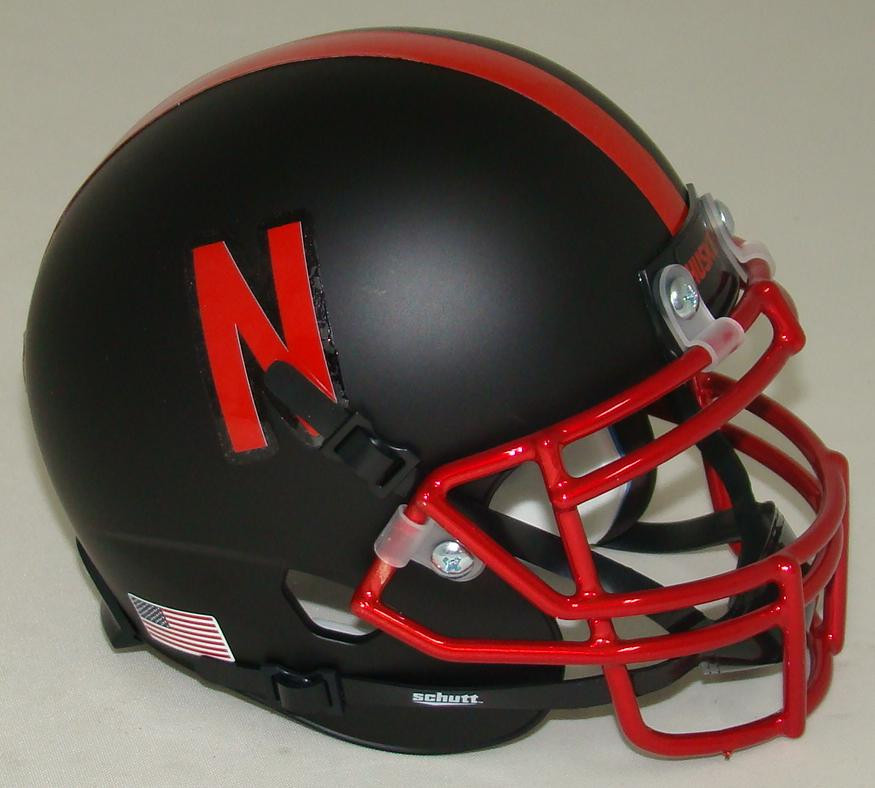 Football Helmet Vinyl Wraps : Nebraska cornhuskers alternate chrome alt schutt mini