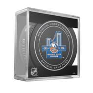 New York Islanders 2015 Inaugural Season Sherwood Official NHL Game Puck in Cube