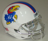 Kansas Jayhawks Alternate White with CHROME Mask Schutt Mini Authentic Helmet