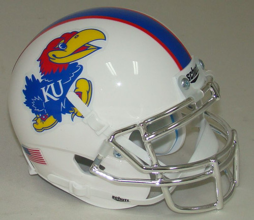 Football Helmet Vinyl Wraps : Kansas jayhawks alternate white with chrome mask schutt