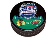 2016 NHL Stadium Series Minnesota Dueling Souvenir Game Puck - Blackhawks vs. Wild