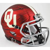 """Oklahoma Sooners Alternate Red Hydro """"Bring the Wood"""" NCAA Riddell Speed Mini Helmet"""