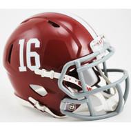 Alabama Crimson Tide #16 NCAA Riddell Speed Mini Helmet