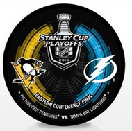 2016 NHL Stanley Cup Playoff Sherwood Souvenir Dueling Puck - Penguins vs. Lightning