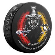 2016 NHL Stanley Cup Playoff Sherwood Souvenir Dueling Puck - Penguins vs. Capitals