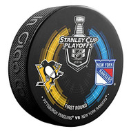 2016 NHL Stanley Cup Playoff Sherwood Souvenir Dueling Puck - Penguins vs. Rangers