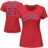 Mike Trout Los Angeles Angels Majestic Official Name and Number WOMEN'S T-Shirt - Red