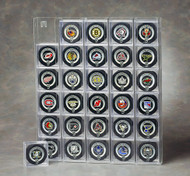 30 Hockey Puck Display Wall Mountable - Front Loading - Holds Hockey Puck Cubes