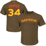 Bryce Harper Washington Nationals Majestic 2016 MLB All-Star Game Name & Number Men's T-Shirt - Brown