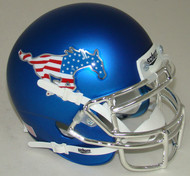 South Methodist SMU Mustangs Blue Flag Chrome Schutt Mini Authentic Helmet