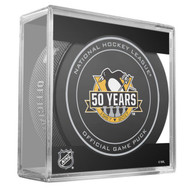 Pittsburgh Penguins Sher-Wood 50th Anniversary Official Game Puck in Cube