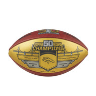 Denver Broncos Super Bowl 50 Championship Gold Panel Leather Limited Edition Football