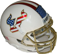 South Florida Bulls Alternate Red White & Blue Flag Chrome Schutt Authentic Mini Helmet
