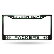NFL Green Bay Packers Colored Chrome License Plate Frame, Dark Green