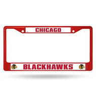 NHL Chicago Blackhawks Colored Chrome License Plate Frame, Red