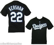 Clayton Kershaw #22 BLACK Los Angeles Dodgers Majestic T-Shirt Tee Shirt