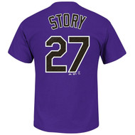 Trevor Story Purple Colorado Rockies #27 MLB Men's Player Name & Number T-shirt