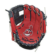"Wilson A200 10"" Cleveland Indians MLB Baseball Tee Ball Youth Glove - Right Hand Throw"